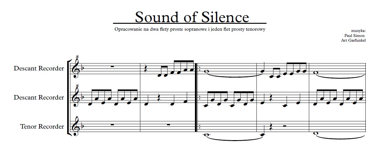 Sound Of Silence free music score download printable pdf creative commons flet prosty recorder nuty