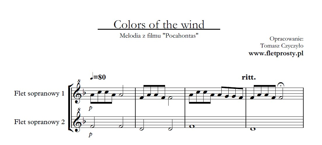 Colors of the wind, flet prosty, recorder, duet